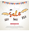 Halloween sale banner grunge background vector image