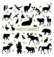 Silhouettes of the forest animals vector image vector image