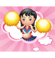 A cloud with a cheerleader vector image