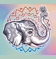 decorative profile elephant profile with flowers vector image