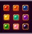 cartoon colorful square gemstones vector image