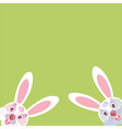 two funny Bunny peeking from the corner vector image