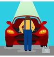 Car Service Serviceman at Work vector image