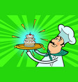 chef cook character with cupcake vector image