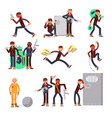 Criminal offender in different actions set vector image