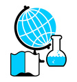Science logo Globe and laboratory flask Book and vector image