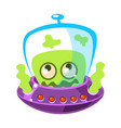 shivering green alien cute cartoon monster vector image