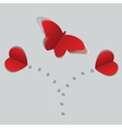Red paper butterfly and hearts2 vector image vector image