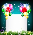 birthday background with balloon and place for tex vector image