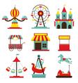 Amusement Park Objects Flat Icons Set vector image
