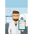 Doctor in hospital room with MRI machine vector image