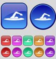 swimmer icon sign A set of twelve vintage buttons vector image