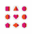 abstract retro pink orange geometrical icons set vector image