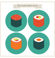 Flat Food Sushi Rolls Circle Icons Set vector image