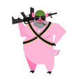 pig soldiers swine war wild boar with gun aper vector image