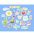 Set of stickers with sketch element summer theme vector image