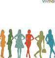 Vintage women silhouettes vector image