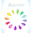 watercolor frame with rainbow drops vector image