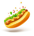hot dog with sausage lettuce vector image