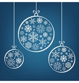 Hanging Christmas balls from snowflakes and ribbon vector image