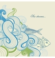 Sea waves and fish vector image vector image