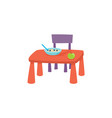 flat cartoon baby table and chair vector image