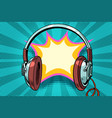 headphones comic bubble audio vector image