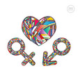 male and female gender symbols set and heart vector image