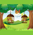 Owls in cages hanging on trees vector image