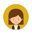 yellow sphere of half body woman with short hair vector image