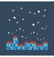 Street of houses under stars vector image