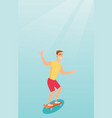young caucasian man riding skateboard vector image vector image