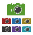 set of color common slr camera icons signs vector image