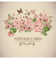 Vintage Floral Card with Butterflies vector image vector image