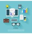 Financier workplace flat design concept vector image