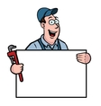 plumber with sign vector image vector image