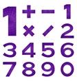 Numbers set violet space vector image