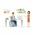 person with disabilities at work - modern cartoon vector image