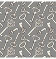 Seamless pattern with outline vintage keys vector image