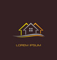 wave roof home building logo company vector image