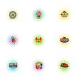 Children rides icons set pop-art style vector image