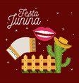 colorful poster festa junina with starry vector image