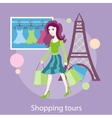 Beautiful woman with a lot of shopping bags vector image