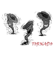 Nasty cartoon tornado hurricane and thunderstorm vector image