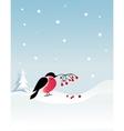 bullfinch bird on winter background vector image vector image