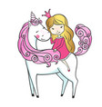 cute hand drawn unicorn with little princess vector image