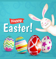 easter eggs and white bunny vector image