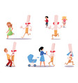 huge cigarette chasing kids and fighting mom vector image