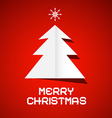 Red Merry Christmas Background with Paper Tree vector image