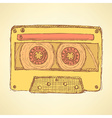 Sketch record cassette vector image